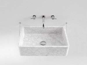 Agape Carrara lavabo sospeso con struttura ACER0730S