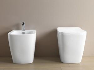 Artceram A16 sanitari a terra, vaso rimless, bidet e coprivaso frizionato in bianco opaco ASV00405+ASB00205+ASA00105