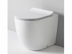 Artceram File vaso a terra rimless con coprivaso frizionato bianco opaco FLV00505