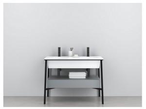 Cielo Catino Doppio mobile lavabo bianco con struttura nera