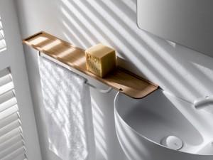 Falper mensola in legno con portasalviette in ottone WL5