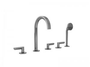 Fantini Icona Deco rubinetto vasca 5 fori con deviatore e doccetta estraibile R165