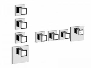 Gessi Eleganza Wellness miscelatore termostatico doccia con 3 rubinetti d'arresto 46226