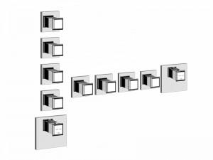 Gessi Eleganza Wellness miscelatore termostatico doccia con 4 rubinetti d'arresto 46228