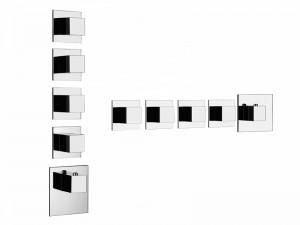 Gessi Quadro Wellness miscelatore termostatico doccia con 4 rubinetti d'arresto 43208