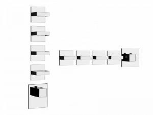 Gessi Rettangolo Wellness miscelatore termostatico doccia con 4 rubinetti d'arresto 43218