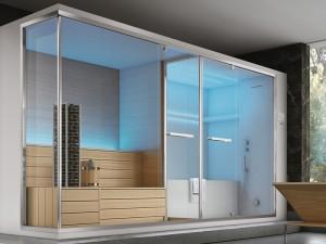 Hafro Olimpo bagno turco angolare con sauna, doccia e vasca integrata. cod. SET60021-1D009