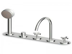 Zucchetti Isyarc rubinetto bordo vasca 5 fori con doccetta ZD3435