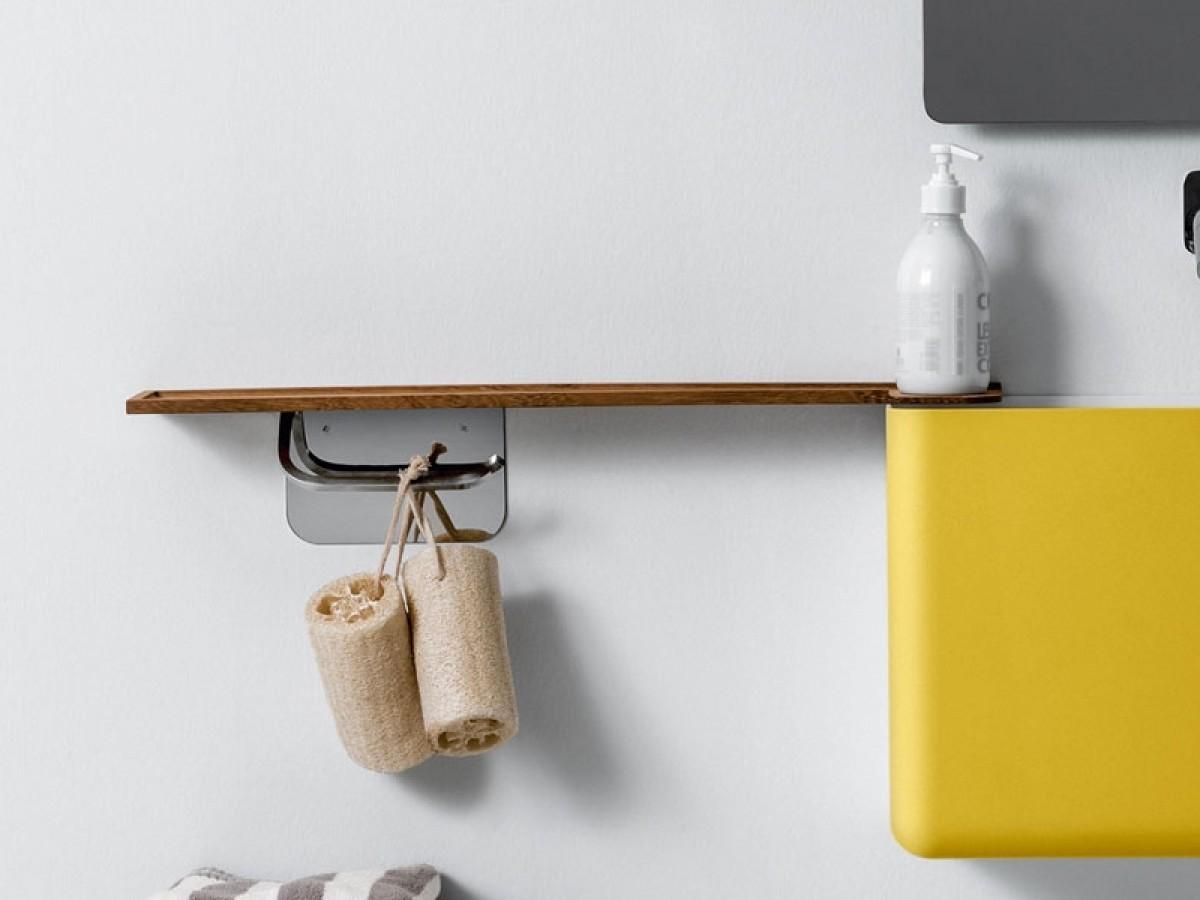 Falper mensola in legno con portacarta in ottone WL6